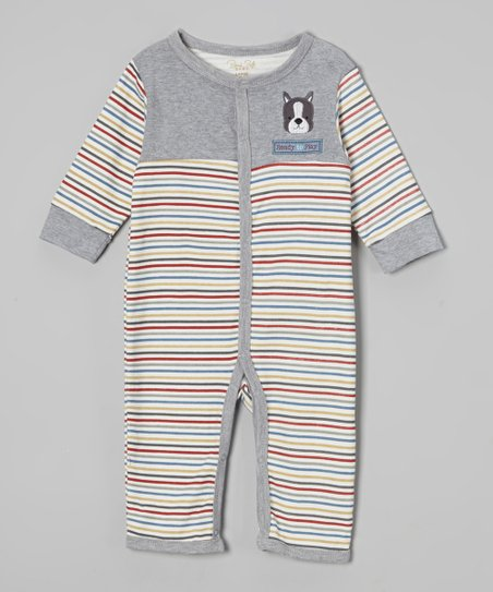Gray & White Stripe Puppy Playsuit