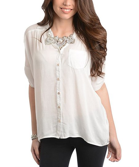 White Roll-Tab Sleeve Button-Up