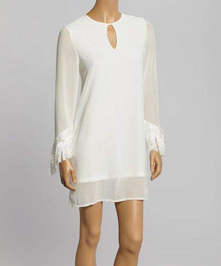 Ivory Fringe Keyhole Dress