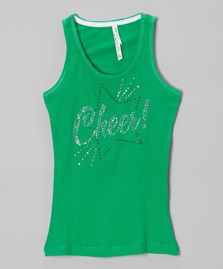 Kelly Green Rhinestone 'Cheer' Tank – Girls