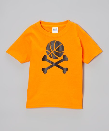 Neon Orange Ball & Crossbones Tee – Toddler & Girls