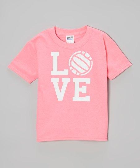 Neon Pink 'Love' Volleyball Tee – Girls