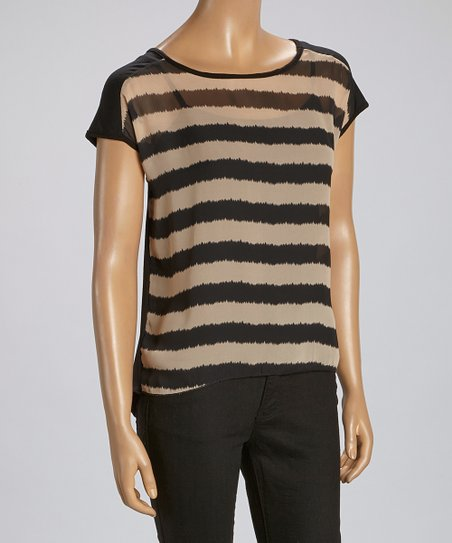 Beige & Black Stripe Cap-Sleeve Top