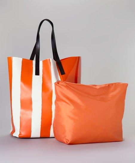 Orange & White Shiny Stripe Tote