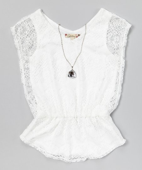White Lace Top & Necklace