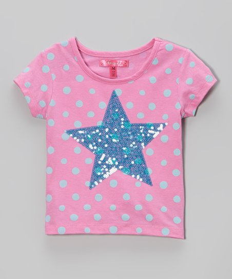 Pink Polka Dot Star Tee - Toddler & Girls