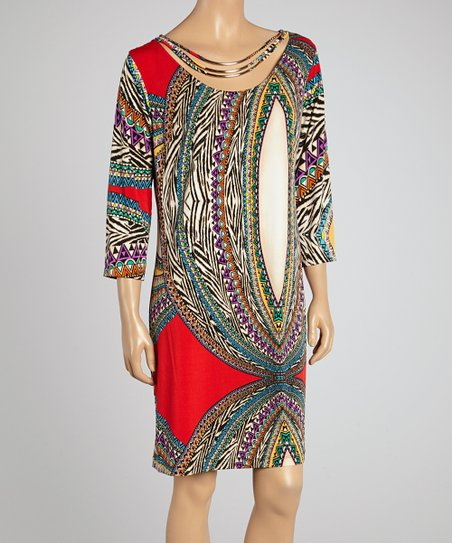 Raspberry Embellished Shift Dress