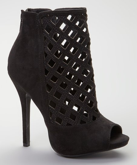Black Bridget Peep-Toe Lattice Bootie