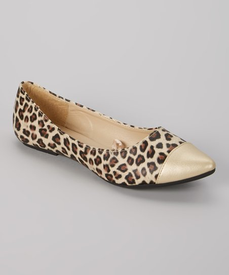 Brown & Gold Leopard Pointy-Toe Flat