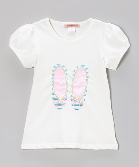 Off-White Ballet Puff-Sleeve Tee - Toddler & Girls