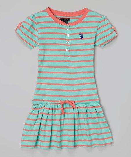 Frozen Aqua Stripe Drop-Waist Dress - Infant, Toddler & Girls