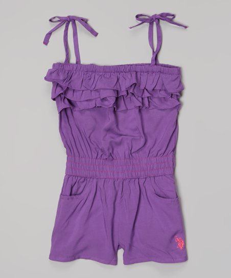 Delta Purple Tie-Strap Ruffle Romper - Infant, Toddler & Girls