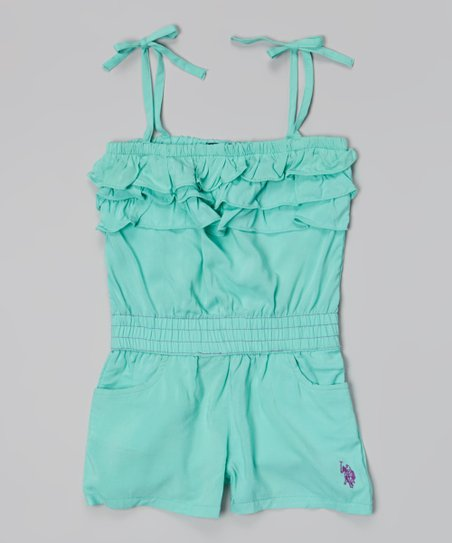 Frozen Aqua Tie-Strap Ruffle Romper - Infant, Toddler & Girls