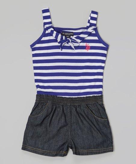 Purple & Denim Stripe Romper - Infant, Toddler & Girls
