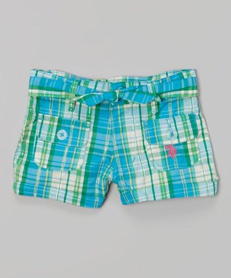 Teal Plaid Belted Shorts - Toddler & Girls