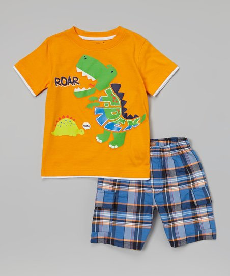 Orange Dino Tee & Blue Cargo Shorts - Infant, Toddler & Boys