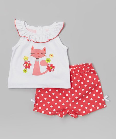 White Cat Yoke Tank & Pink Shorts - Infant, Toddler & Girls