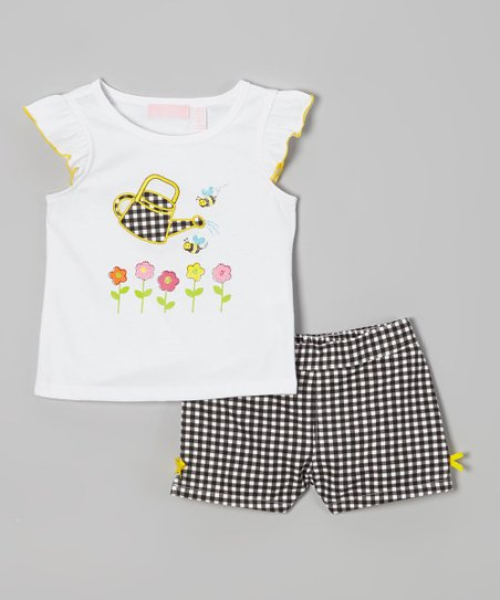 White Garden Tee & Black Gingham Shorts - Infant, Toddler & Girls