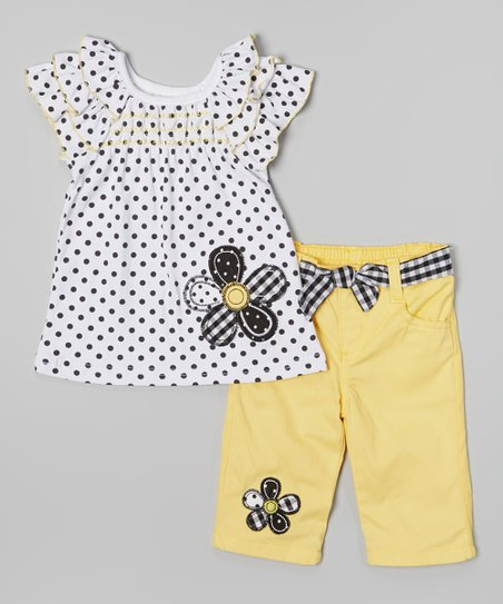 White Polka Dot Top & Yellow Shorts - Infant & Toddler