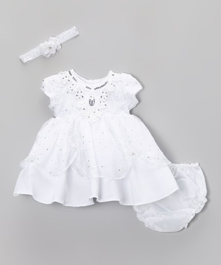 White Sequin Pick-Up Dress - Infant