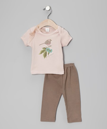 Blush & Latte Bird Branch Tee & Pants