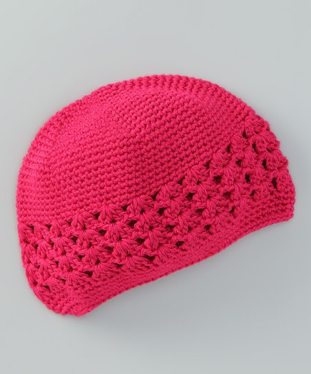 Fuchsia Crocheted Beanie