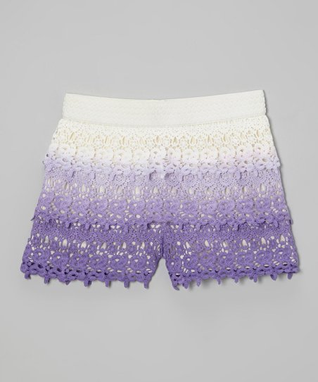 Purple Lace Tiered Shorts