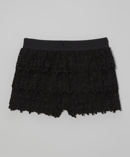 Black Lace Shorts - Girls