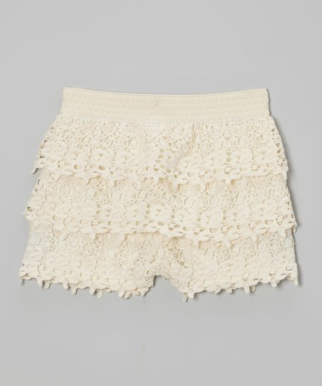 Ivory Lace Shorts - Girls