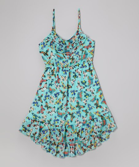 Teal Butterfly Hi-Low Dress - Girls
