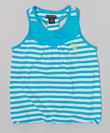 Surf Blue Stripe Y-Back Tank - Toddler & Girls