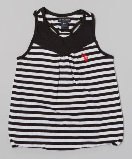 Black Stripe Y-Back Tank - Toddler & Girls