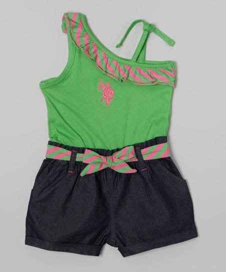 Green Dragon Belted Asymmetrical Romper - Toddler & Girls