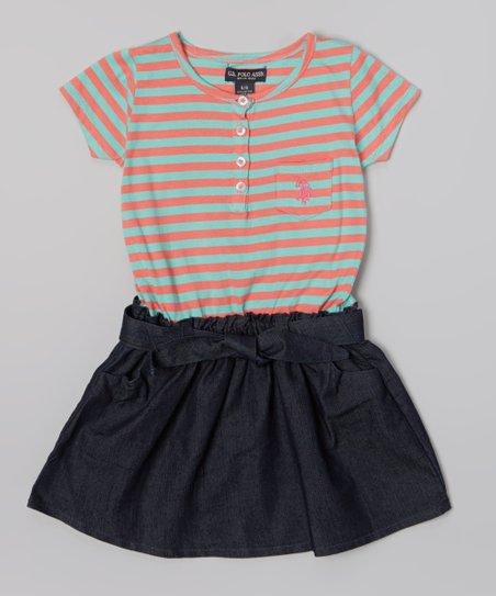 Frozen Aqua & Denim Stripe Belted Dress - Infant, Toddler & Girls