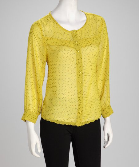 Yellow Dotted Sheer Button-Up Top