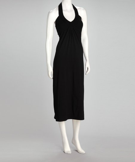 Black Ruched Halter Midi Dress
