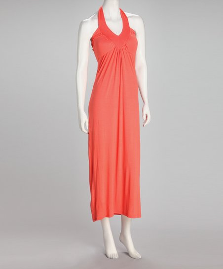 Coral Ruched Halter Midi Dress