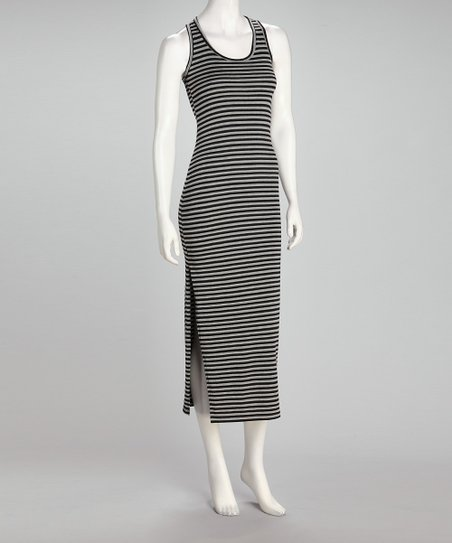 Black & Gray Stripe Midi Dress