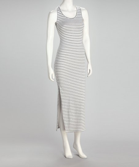 Gray &amp; White Stripe Midi Dress