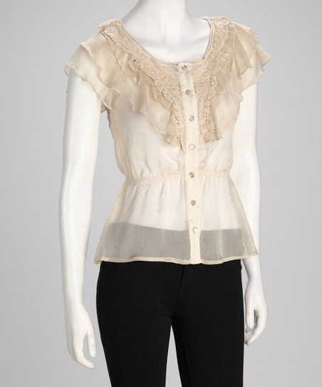 Beige Tuxedo Sheer Button-Up Top