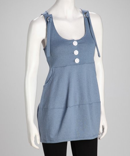 Blue Pocketed Sleeveless Tunic