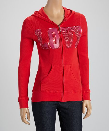 Red 'Love' Zip-Up Hoodie