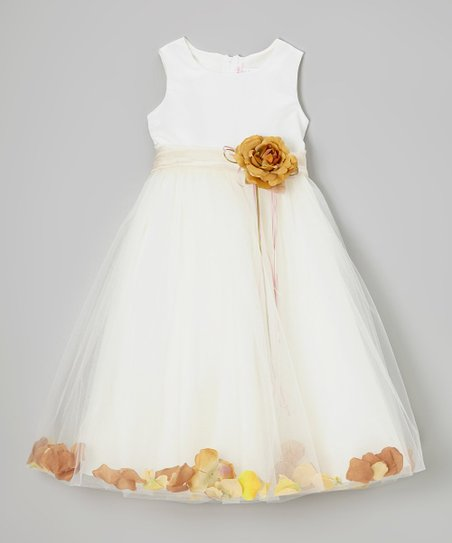 Ivory & Champagne Floral Tulle A-Line Dress – Toddler & Girls