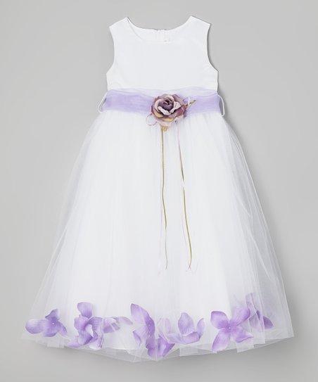White & Lavender Floral A-Line Dress - Infant, Toddler & Girls