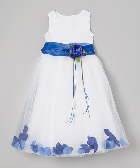 White & Navy Floral A-Line Dress – Toddler & Girls