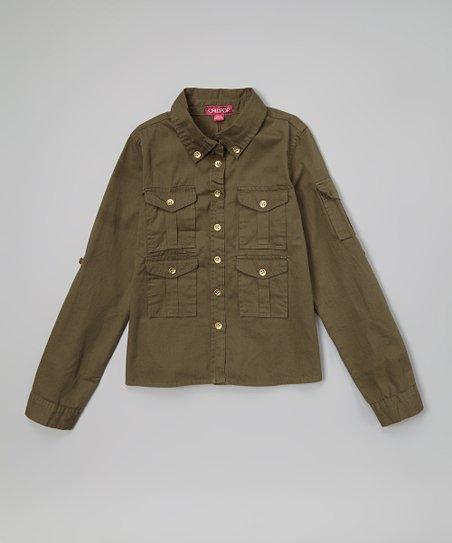 Olive Green Double Pocket Cargo Button-Up - Toddler & Girls