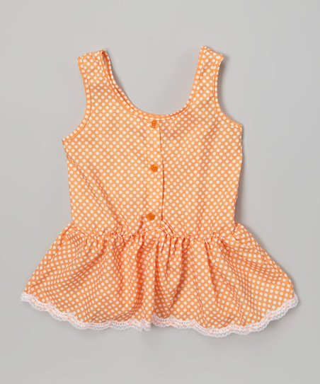 Creamsicle Polka Dot Ruffle Button-Up Tank - Toddler & Girls