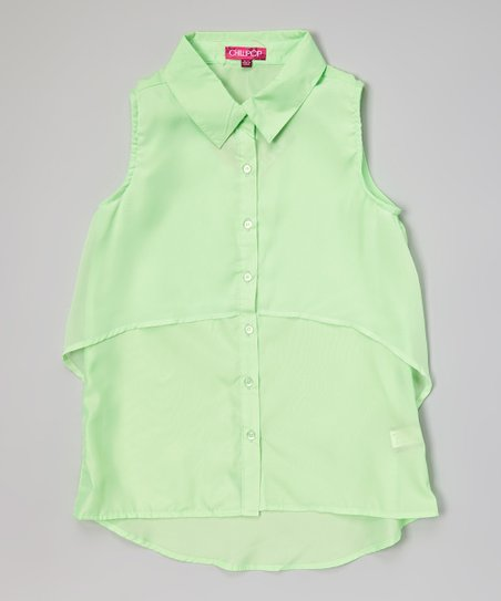 Crisp Green Layered Hi-Low Button-Up Tunic - Toddler & Girls