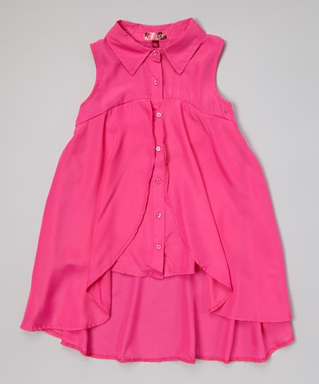Stolen Pink Button-Up Swing Tunic - Girls
