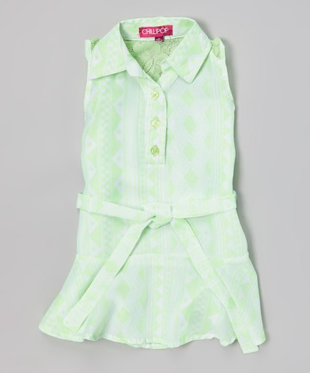 Crisp Green Diamond Stripe Belted Polo Tunic - Toddler & Girls
